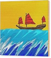 Chinese Junk And Wave Wood Print