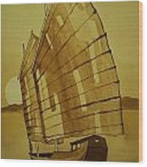 Chinese Junk Boat Wood Print