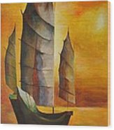 Chinese Junk In Ochre Wood Print by Tracey Harrington-Simpson