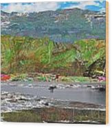 Chinese Landscape Abstract Graphic River Snow Peak Mountain Picnic Spot Skiing Raft Boat Wood Print