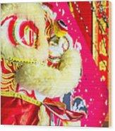 Chinese Lion Head Wood Print