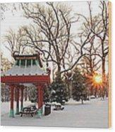 Chinese Pavilion Winter Sunrise Wood Print