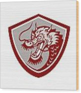 Chinese Red Dragon Head Shield Wood Print
