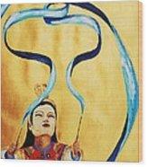 Chinese Ribbon Dancer  Blue Ribbon Wood Print