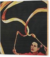 Chinese Ribbon Dancer Yellow Ribbon Wood Print