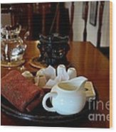 Chinese Tea Pot Cups Towel Tray And Plates Wood Print
