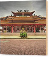 Chinese Temple Paved Square Wood Print