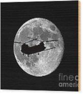 Chinook Moon B And W Wood Print