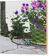 Chipmunk And Flowers Wood Print