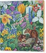 Chipmunk Garden Wood Print