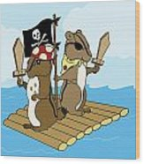 Chipmunk Pirate Dash And Scoot Wood Print