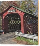Chiselville Covered Bridge Wood Print by Edward Fielding