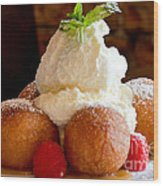 Chocolate Beignet Dessert Wood Print