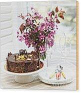 Chocolate Cake With Flowers Wood Print