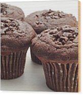 Chocolate Chocolate Chip Muffins - Bakery - Breakfast Wood Print