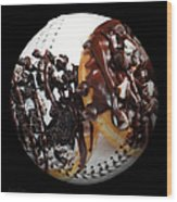 Chocolate Donuts Baseball Square Wood Print by Andee Design