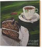 Chocolate Hazelnut Cake And Art Deco Fine China Wood Print