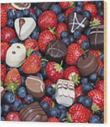 Chocolates And Strawberries Wood Print by Tim Gainey