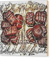 Chocolates - Illustration - Dish - Candy Wood Print