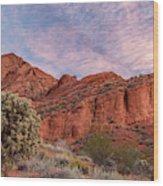 Cholla Cactus And Red Rocks At Sunrise Wood Print