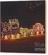 Choo Choo Train In Lights Wood Print