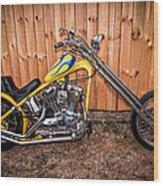 Chopper Custom Built Harley Wood Print
