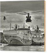 Choppers N Ships  Wood Print