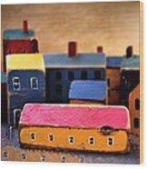 Chopping Block Village Wood Print by John Grace