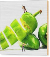 Chopping Green Peppers Little People Big Worlds Wood Print