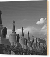 Chortens In The Sky  Wood Print