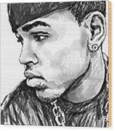 Chris Brown Art Drawing Sketch Portrait Wood Print