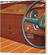 Chris Craft Cockpit Wood Print
