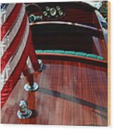 Chris Craft With Flag And Steering Wheel Wood Print