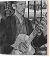 Chris Craig - New Orleans Musician Bw Wood Print