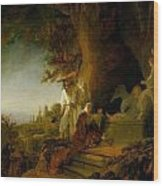 Christ And St Mary Magdalen At The Tomb Wood Print