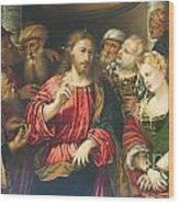 Christ And The Adulteress By Rocco Marconi Wood Print
