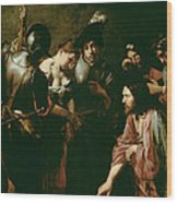 Christ And The Adulteress Wood Print