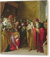 Christ And The Woman Taken In Adultery Wood Print