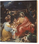Christ Blessing The Little Children Wood Print