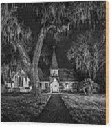 Christ Church Bw Wood Print