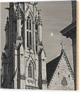 Christ Church Cathedral And Moon Wood Print