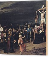 Christ On The Cross Wood Print by Mihaly Munkacsy