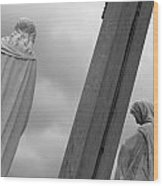 Christ On The Cross With Mourners Evansville Indiana 2008 Wood Print by John Hanou