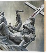 Christ On The Cross With Mourners Saint Joseph Cemetery Evansville Indiana 2006 Wood Print