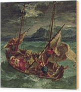 Christ On The Sea Of Galilee Wood Print by Delacroix