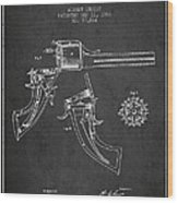 Christ Revolver Patent Drawing From 1866 - Dark Wood Print