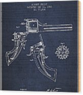 Christ Revolver Patent Drawing From 1866 - Navy Blue Wood Print
