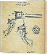 Christ Revolver Patent Drawing From 1866 - Vintage Wood Print