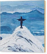 Christ Statue In Rio In Blue Wood Print