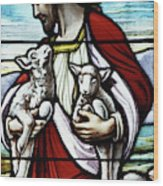 Christ The Good Shepherd With His Flock Wood Print